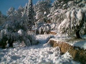 Schnee auf den Terrassen