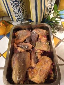 Der Ofen machte es nötig zu improviseren, so wurde der Vogel zerteilt